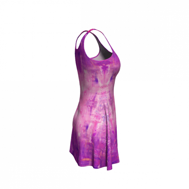 Flare Dress Behind Stars in Purple-4
